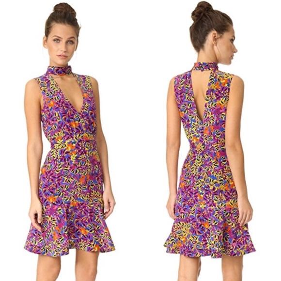 Saloni Woman Gigi Lace-up Printed Silk Mini Dress Violet Size 8 Saloni uOsRoPPfR5